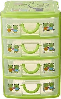 Plastic Storage Drawer Unit, 4 Levels - Green