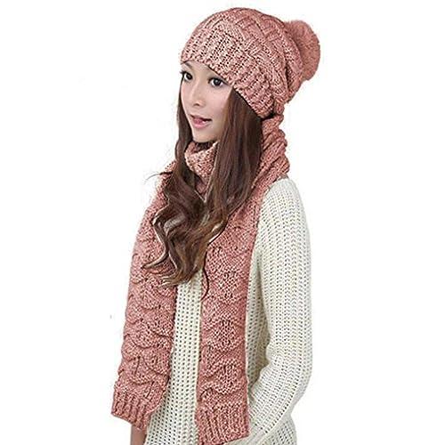 d9e1342f9ce HANERDUN Women Girls Fashion Winter Warm Knitted Hat Beanie Hat Scarf Set