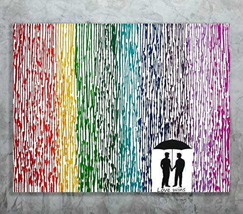 Love Wins Art, Wedding Gift, 22x28 Melted Crayon Art