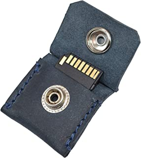 Rustic Leather Switch Cartridge Game Keychain/SD Card/Guitar Pick Holder Handmade by Hide & Drink :: Slate Blue