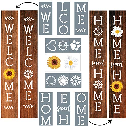 Stencils for Painting on Wood Vertical   Outdoor Welcome Signs for Porch   Sunflower and Daisy Rub-On Stickers Plus 6 Shape Stencils for Customization   Best for Fall Porch Decor by ULPO Crafts
