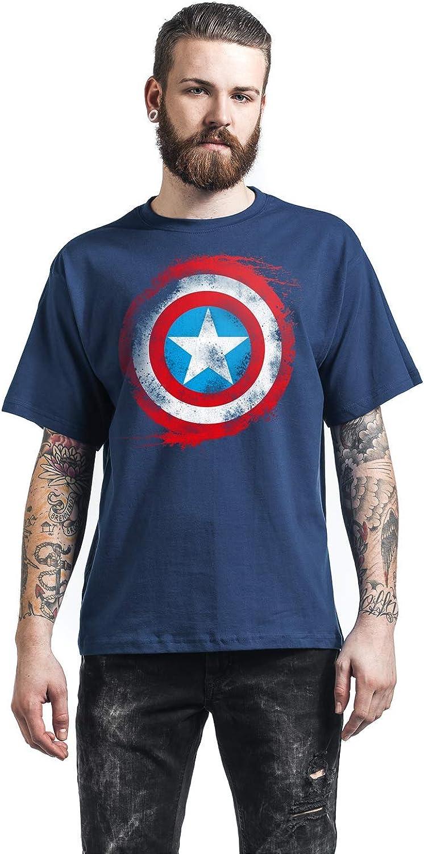 Capitán América Shield Logo Hombre Camiseta Azul Marino, Regular