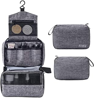 Hanging Travel Toiletry Bag for Men and Women Makeup Bag Cosmetic Bag Bathroom and Shower Organizer Kit Travel Accessories Gift, Gray