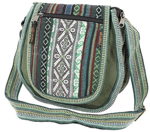 GURU SHOP Ethno Schultertasche, Boho Tasche - Olivgrün, Herren/Damen, Baumwolle, Size:One Size, 26x26x7 cm, Alternative Umhängetasche, Handtasche aus Stoff