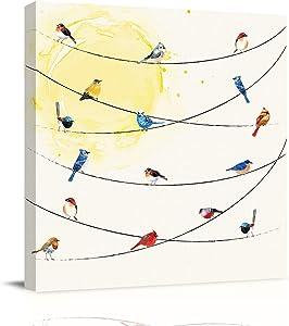 ModernSquareCanvasPaintingHomeArtPicturesArtwork-20x20inCanvasPrintsPosterforLivingRoomBedroomBathroomOfficeWallDecor-Colorful Birds On The Wire