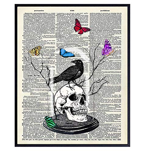Gothic Skull Wall Art Home Decor - Edgar Allan Poe The Raven Decor with Butterflies - Gift for Goth, Wicca, Wiccan, Witchcraft, Occult Fan - Creepy Medieval Picture Print for Bedroom, Living Room