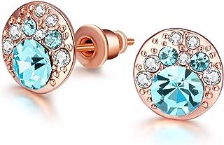 Jösva Damen Ohrringe Ohrstecker Weißgold/Rosegold Rund Cluster Ohrring mit Blau und Weiß Zirkonia Allergen-Frei Modeschmuck für Frauen Mädchen Geeignet für den Alltag und Party kommt in Geschenk-Box