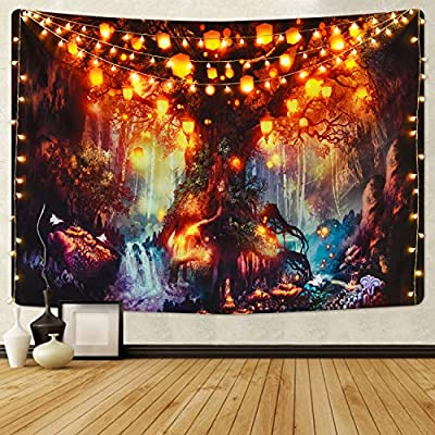 Fantasy Forest Tapestry Magical Tree of Life Tapestry Mystical Shining Lanterns Tapestry Waterfalls Under Ancient Enchanted Tree Tapestry for Room(51.2 x 59.1 inches)