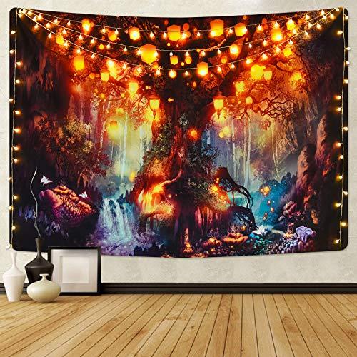 Krelymics Wandteppich Tapisserie Multicolored Fantasy Wandbehang Wandtuch für Pavillon Strandhaus Psychedelic Wandteppich mit detailliertem Druck für Picknick (M/130X150cm)