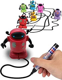 Magic Inductive Robot Toy Follow Black Line with LED Light Educational Toys for Kids (Inductive Robot) (Red)