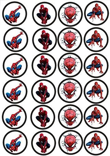 24 Muffin & Cupcake Aufleger Fondant Spiderman C2