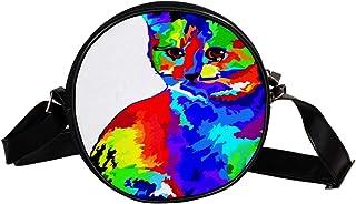 Coosun Umhängetasche für Kinder und Damen mit Katzenmotiv in Regenbogenfarben