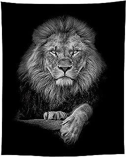 Jaye Black and White Lion Tapestry,Animal Lion Tapestry,59''x79'' Lion Tapestry Wall Hanging Large Size.