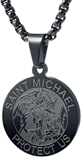 Saint Michael Necklace - 1 Inch Stainless Steel Round St. Michael Religious Medal Pendant Hanging with 24