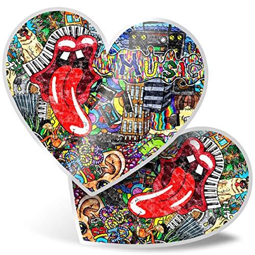 Impresionante 2 pegatinas de corazón de 7,5 cm – Graffiti de la pared de los años 80 retro vintage divertido calcomanías para portátiles, tabletas, equipaje, libros de chatarra, frigorífico, regalo genial #14883