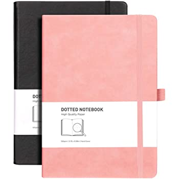 RETTACY Dotted Journal 2 Pack - Dotted Grid Journal for Women with 320 Pages,120gsm Thick Paper,8 Perforated Sheets,Smooth PU Leather,Inner Pocket,''5.75 × 8.38''