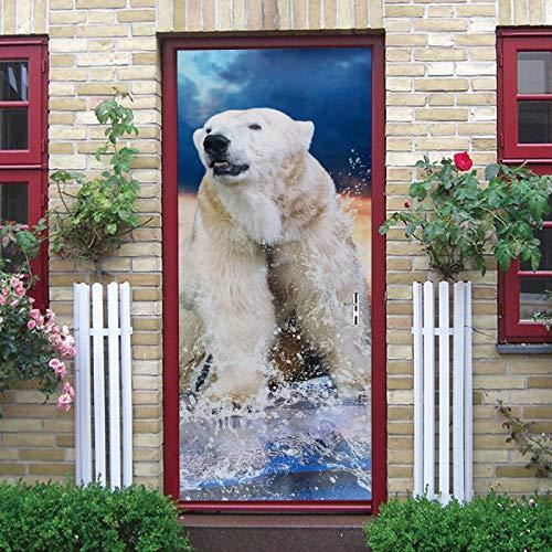 WZKED 3D Puerta Pegatina Pared Oso Polar Animal Calcomanía De Vinilo Extraíble DIY Autoadhesiva Etiqueta De Puerta Murales para Cocina Sala De Baño Decorativos 77X200Cm