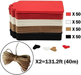 CRIVERS 200pc Hollow Heart Shape Kraft Paper Tags, CRIVERS Gift Tags/Hang Tags with Free Natural Jute Twine for Christmas Wedding Thanksgiving Birthday Holiday Party Favors (Mixed)
