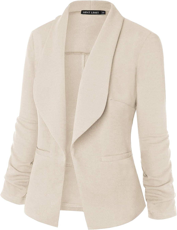 MINTLIMIT Damen Casual 3/4 Ärmel Vorne Offen Blazer Seitentaschen Arbeit Suit Büro Jacke Beige