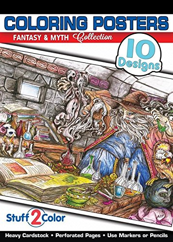 Myth & Fantasy - Premium Coloring Poster Tablet (10 Designs)