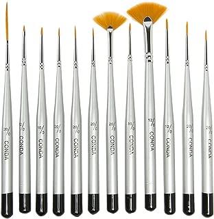 Conda Fine Detail Paint Brush Set - 12 Miniature Paint Brush for Detailing & Art Painting - Acrylic, Watercolor, Oil,Models, Airplane Kits, Nail Artist Supplies