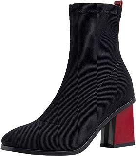 Zanpa Women Elegant Dress Booties Block Heels Zipper