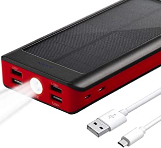 Solar Charger 30000mAh, BONAI Outdoor Portable Power Bank with Flashlight, 4.2A Max Input External Battery Pack, 5.8A and Type C Output, Power Bank Compatible with iPhone, iPad, Samsung - Red