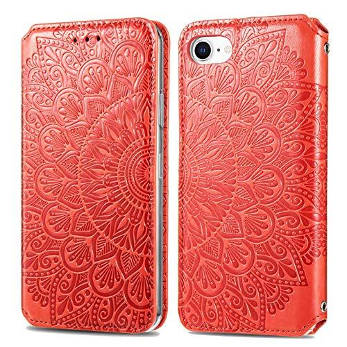 Trugox Funda Cartera para iPhone SE 2020/iPhone 8/iPhone 7 de Piel con Tapa Tarjetero Soporte Plegable Antigolpes Flor Cover Case Carcasa Cuero para Apple iPhone SE 2020/8/7/6/6S -TRSDA140018 Rojo