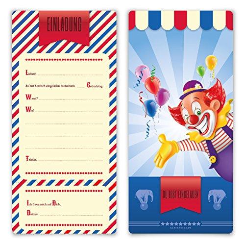 Einladungskarten Kindergeburtstag Jungen Mädchen 8 Stück Karten - Zirkus Clown Ticket