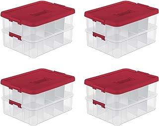 Sterilite 24 Compartment Christmas Ornament Storage Box (4 Pack)   14276604
