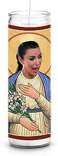 Celebrity Prayer Candles Crying Kim Kardashian Funny Saint Candle - 8 inch Glass Prayer Votive - 100% Handmade in USA - Novelty Celebrity Gift