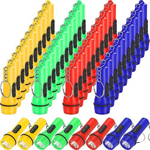 Boao 48 Piezas Mini Linterna Llavero, Linterna de Juguete para Senderismo, Campamento, Fiesta Favors