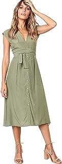 Women's Elegant Sleeveless V Neck Casual Button Down Swing Midi Dress with Belt