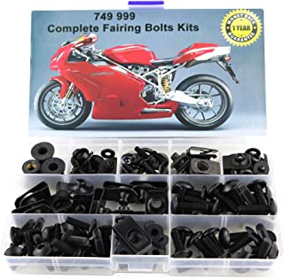 Xitomer Full Sets Fairing Bolts Kits, for DUCATI 749 999 2003 2004 2005 2006, Mounting Kits Washers/Nuts/Fastenings/Clips/Grommets (Matte Black)