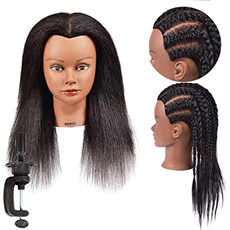 Amazon Com Mannequin Head 100 Real Hair Afro Mannequin Head Hair Styling Hairdresser Training Head Manikin Cosmetology Doll Head For Practice Cutting Braiding With Free Clamp Stand Beauty