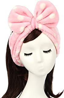 Shintop Women Fashion Lovely Soft Carol Fleece Bowknot Bow Makeup Cosmetic Shower Elastic Hair Band Hairlace Headband (Pink Polka dots)
