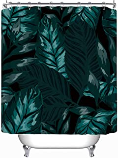 YOLIYANA Watercolor Seamless Pattern Tropical Leaves Palms Vector Shower Curtain Turquoise Shower Curtain 71''Long x 71''Wide