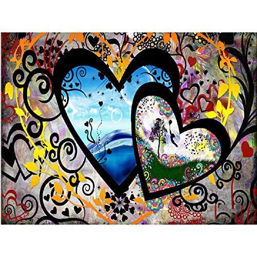 AZYVv DIY Malen Nach Zahlen Erwachsene Kind DIY Ölfarbe Durch Anzahl-Zwei Herzen-Art Personality Casual Games Geschenk Spielzeug 40X50Cm (Kein Rahmen)