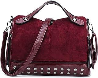 Handbag, retro nostalgic style handbag, ladies urban texture lightweight simple matte motorcycle bag, yellow/wine red/ligh...