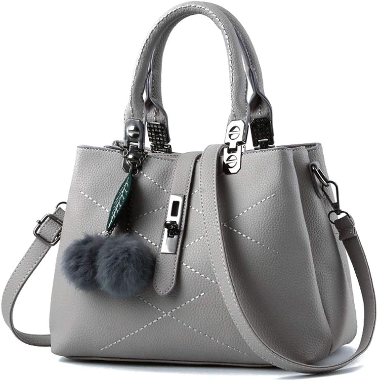 Uirend Satchel Handbags Shoulder Messenger - PU Leather Fashion Women Purse Classic Pompom Crossbody Bag Exquisite Work Multipurpose Simple