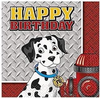 Fire Truck Birthday Beverage Napkins, 16ct