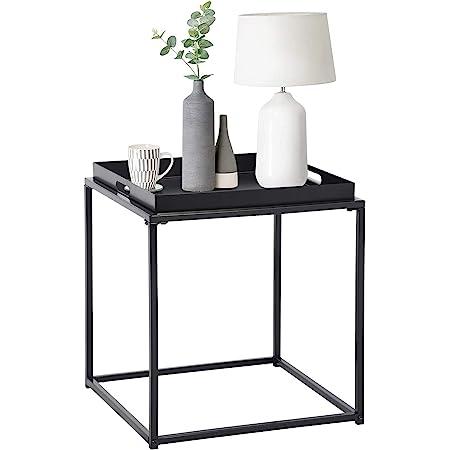 FurnitureR Mesa auxiliar cuadrada pequeña, mesa auxiliar de metal completa, impermeable, mesa de centro pequeña, sofá, mesa auxiliar con bandeja extraíble, antioxidante, uso en interiores y exteriores para colocar cosas pequeñas, multifunción Negro