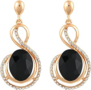 Crunchy Fashion Bollywood Style Party Wear Black Crystal Dangle Earrings for Women & Girls