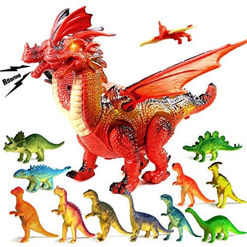 DUTISON Kinder Gehen Dinosaurier Spielzeug - Roboter Dino Spielzeug mit Gehen, Brüllen, leuchtenden Augen für Kleinkinder Jungen Mädchen - Komme mit 12 Stücke Mini Dinosaurier Figuren Set