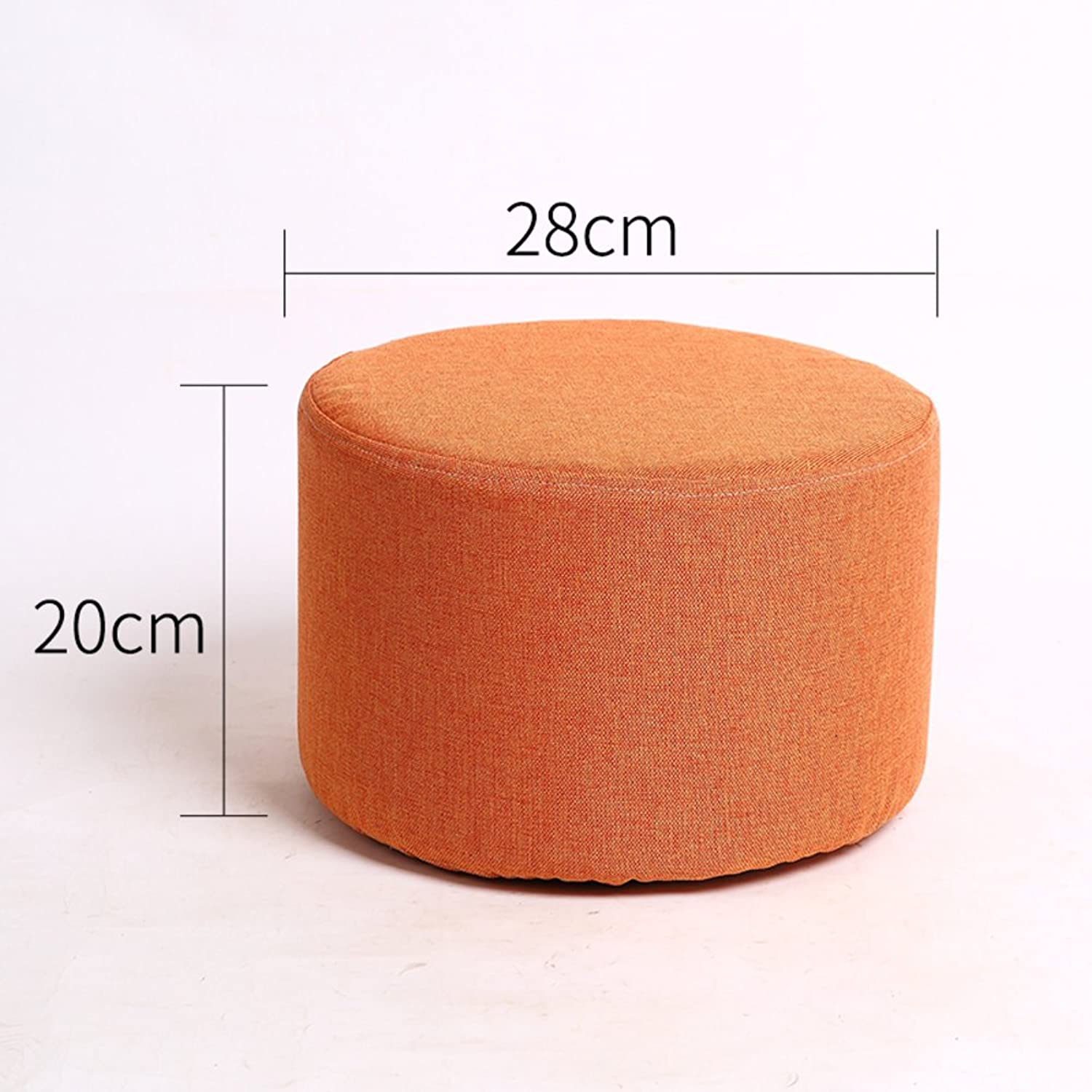 Round Wooden Footstool,Portable Wooden Footstool,Non-Slip Stools Detachable seat Cover Strong Bearing Capacity for Office Living Room Coffee Table-B 28x20cm(11x8inch)