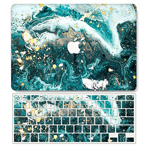 One Micron Case + Keyboard Cover Compatible with MacBook Pro 13 Inch w/Touch Bar Plastic Hard Shell for MacBook Pro 13 Inch 2018 2017 2016 (Model:A1706/A2159/A1989)-Beautiful Green Marble