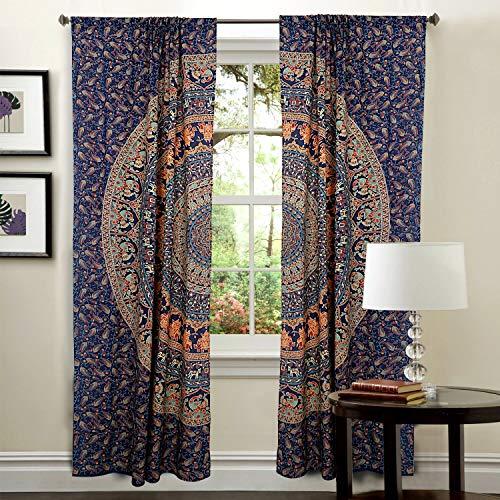 DIYANA IMPEX Indian Mandala Curtain Kitchen Window Curtains Curtain & Valance Set Dorm Tapestry,Indian Drape Balcony Room Decor Curtain Boho Set Hippie Curtain Panel