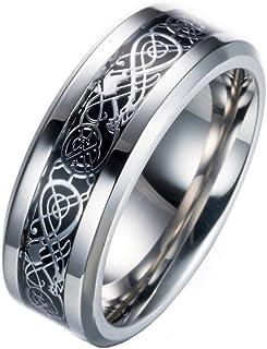 8 Women Ring Size 4 Gemini His /& Hers Plain Flat Comfort Fit BlueTitanium Wedding Bands Rings Set Width 6mm /& 4mm Men Ring Size