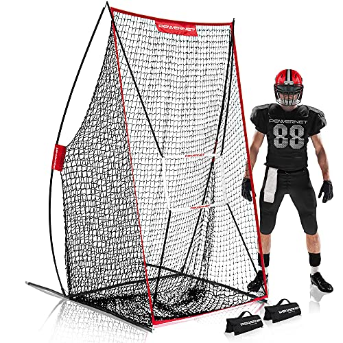 PowerNet Sideline Trainer   2021   7 x 4 FT Football Kicking Net   Great for Punting, Kicking, Passing or Snapping   Lightweight and Easy to Assemble   Great Portable Football Team Field Training Aid