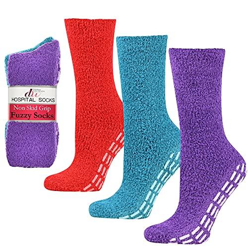 Debra Weitzner Anti-slip Hospital Socks Fuzzy Plush Socks Slipper Socks For Women Men 3 Pairs Red/Teal/Purple